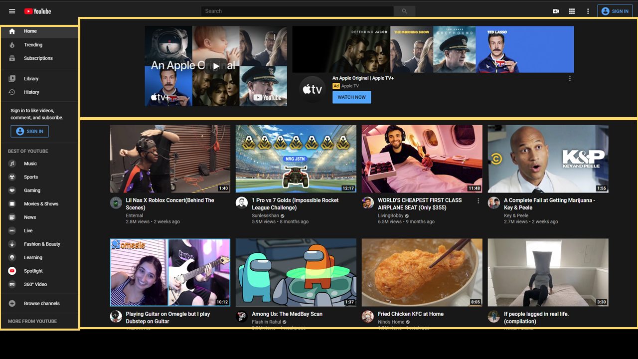 Sample YouTube main page. There is an advertisement along the top 1/3 of the screen. A selection of 8 videos in the bottom 2/3. And a left hand navigation.